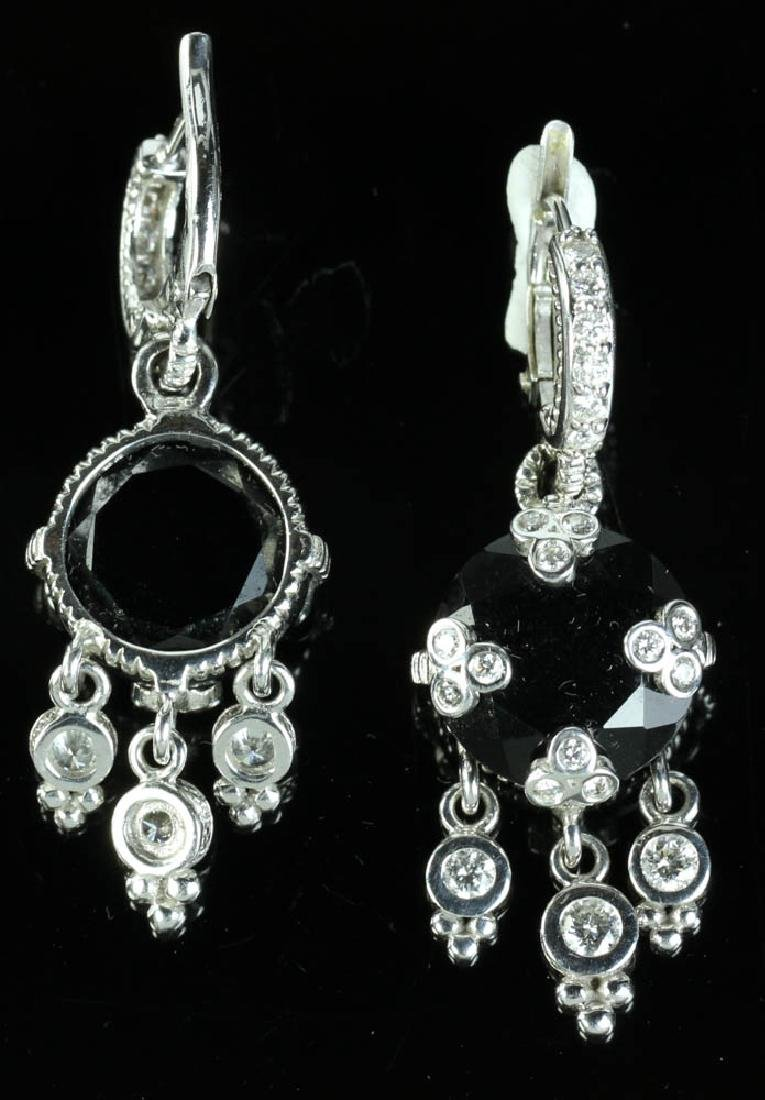 Judith Ripka 14k Onyx Diamond Earrings - 2
