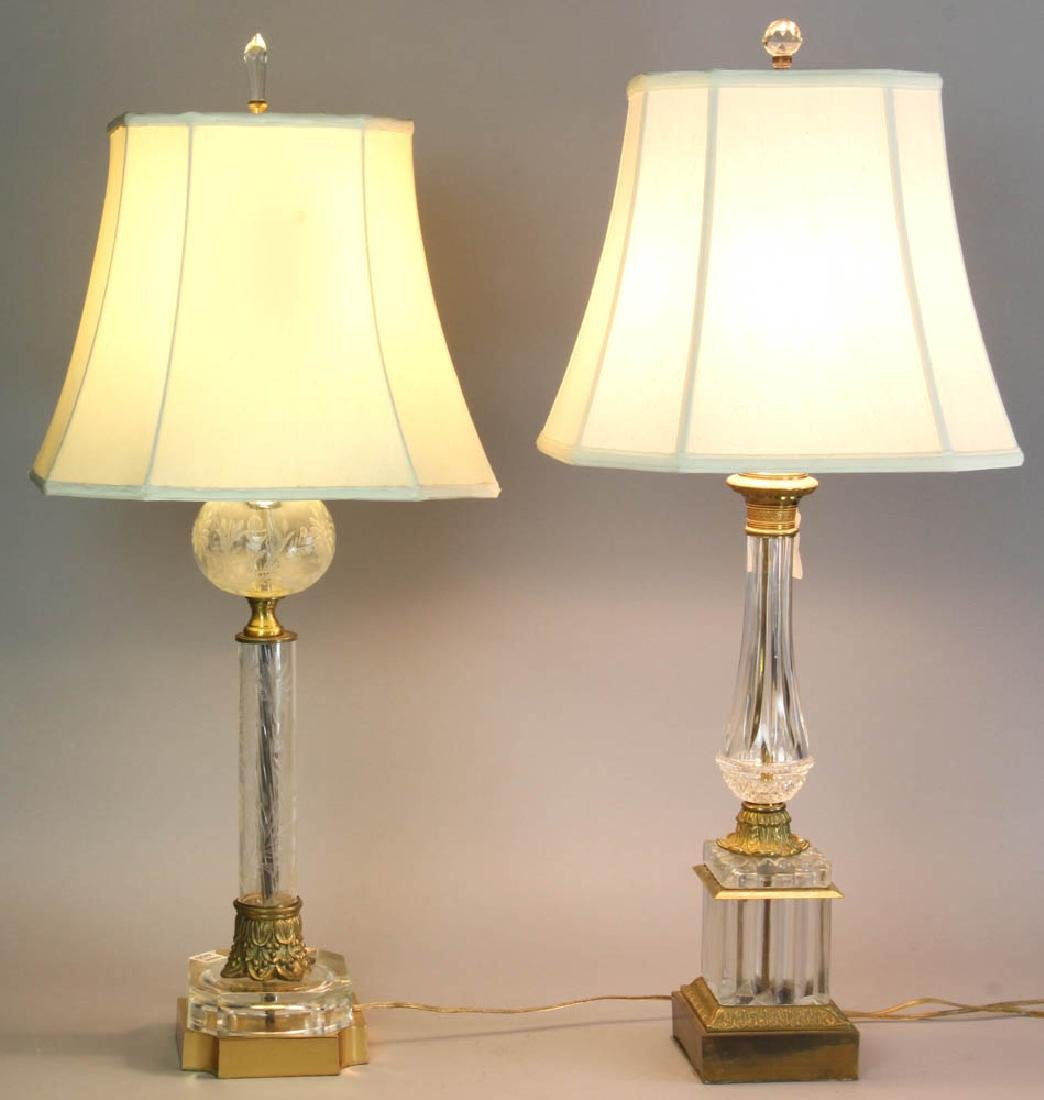 Two Glass Table Lamps with Silk Shades
