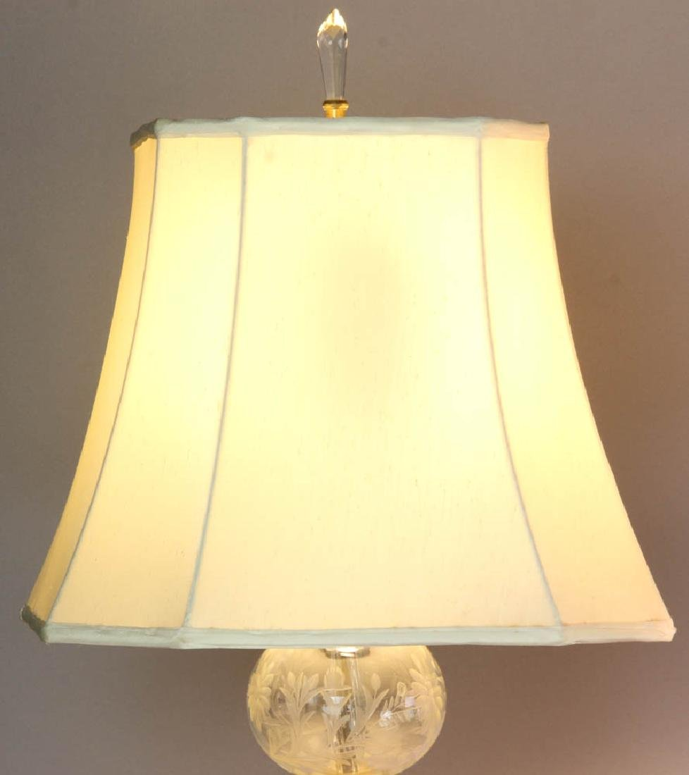 Two Glass Table Lamps with Silk Shades - 4