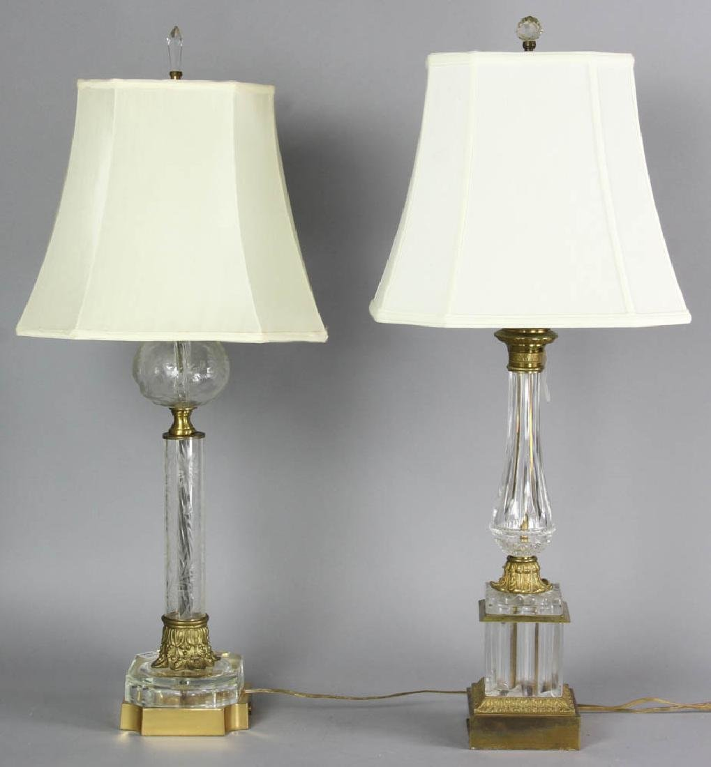 Two Glass Table Lamps with Silk Shades - 6