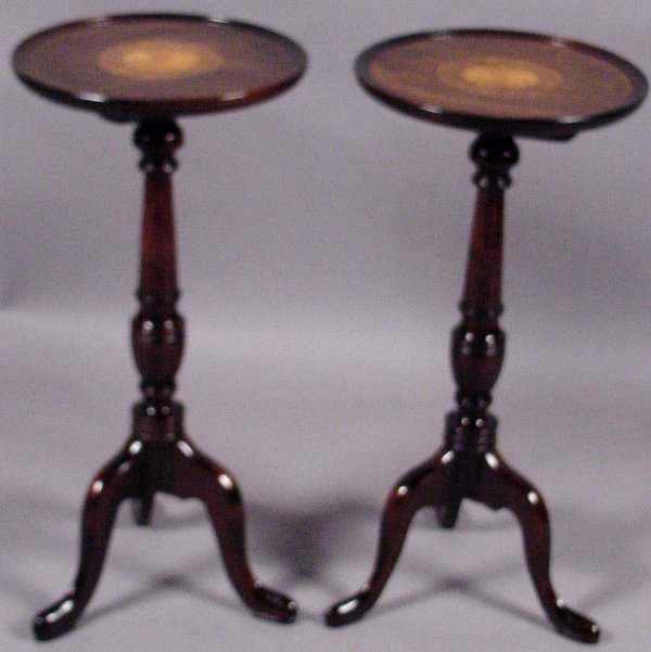 1: PAIR OF INLAID BRANDY TABLES