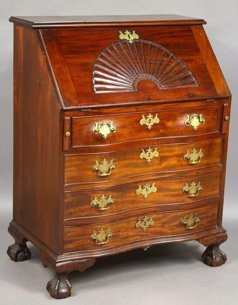 3: 19th C. Diminutive Mahogany Fan-Carved Desk