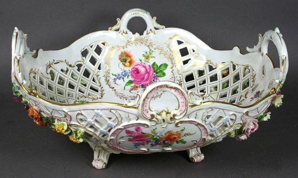 4: Early 20th C. German Reticulated Center Bowl
