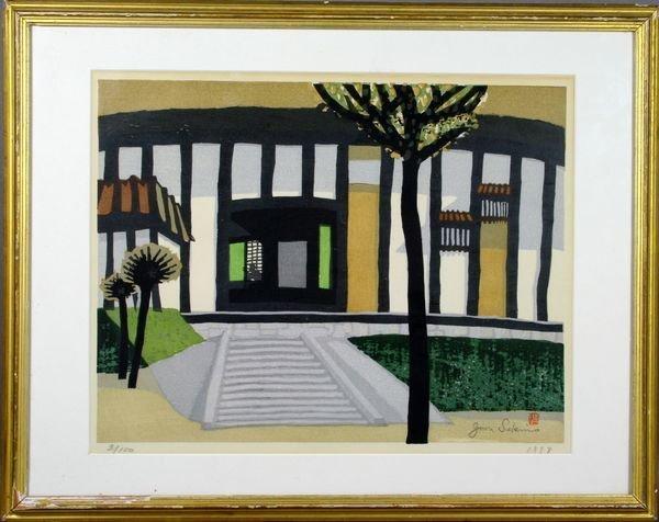 7: Signed J. Sekino, Japanese Woodcut, Bathhouse