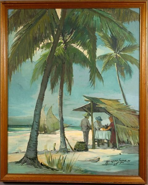 8: Alfonso Lopes, Oil On Canvas, Under Palm Trees
