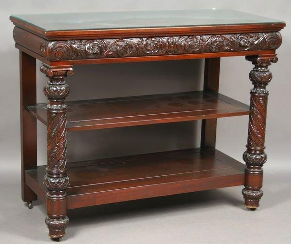 13: Early 20th C. Heavily Carved Mahogany Buffet