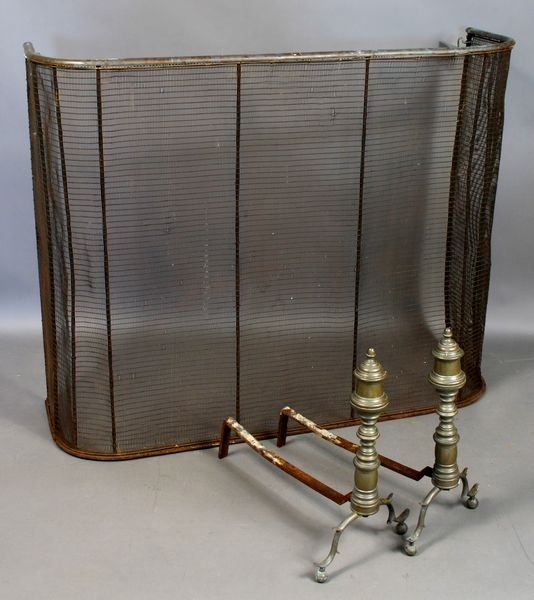 16: 19th C. Brass Andirons and Wire Fireplace Screen