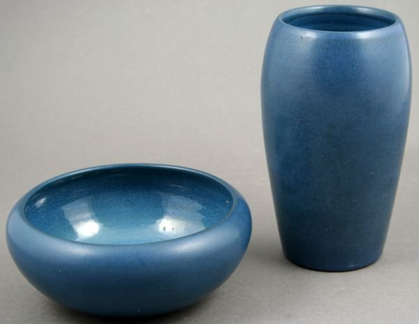 20: Two (2) Marblehead Pottery Matte Blue Items