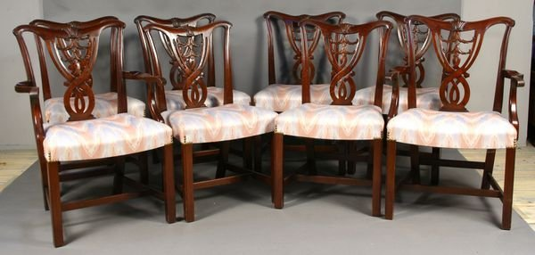 23: (8) 20th C. Chippendale-style Mahogany Chairs