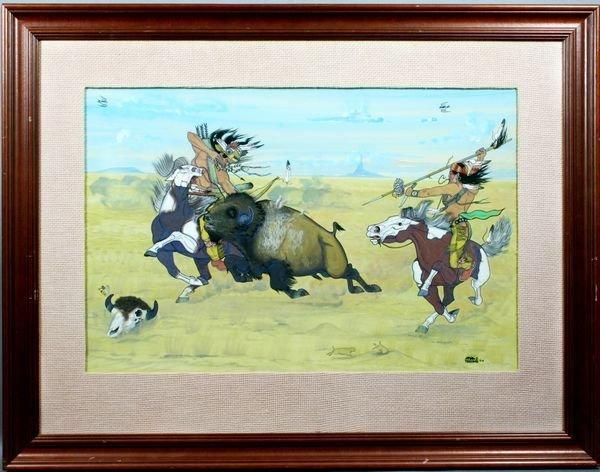 70: Signed Quincy Tahoma, Buffalo Hunters, Gouache