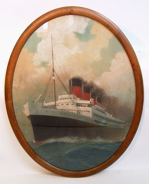 "1001: 20th C. French Liner ""France"", Gouache, S. Hook"