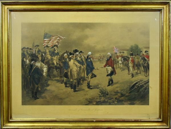 1003: 19th Century Gouache, Surrender of Cornwallis