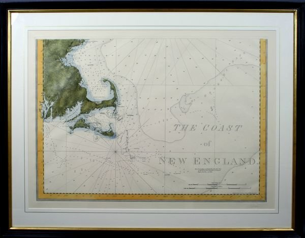 1007A: 20th C., Sea Chart, Coast of N.E., HC Engraving