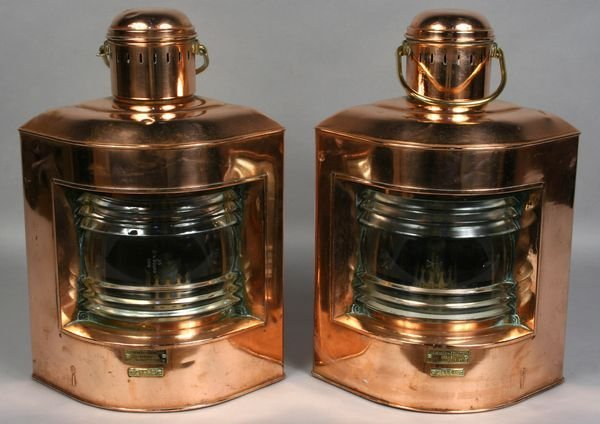 1018: Pair of 20th C. Copper Port & Starboard Lanterns
