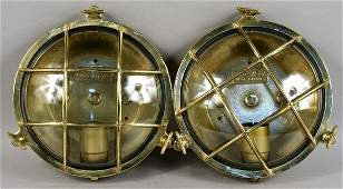 1048 Pair of Solid Brass Ships Companionway Lights