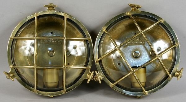 1048: Pair of Solid Brass Ship's Companionway Lights
