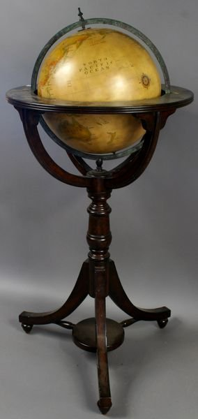 1052: 20th C. Hand-painted Sphere on Mahogany Stand