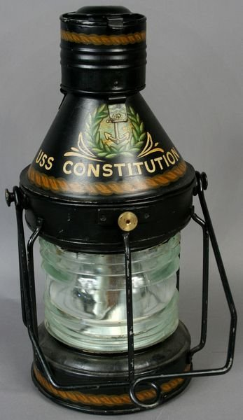 1054: Steel Ship Lantern Painted USS Constitution