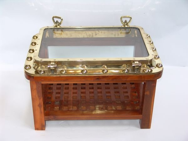 1096: 20th C. Brass Ship's Porthole Converted to Table