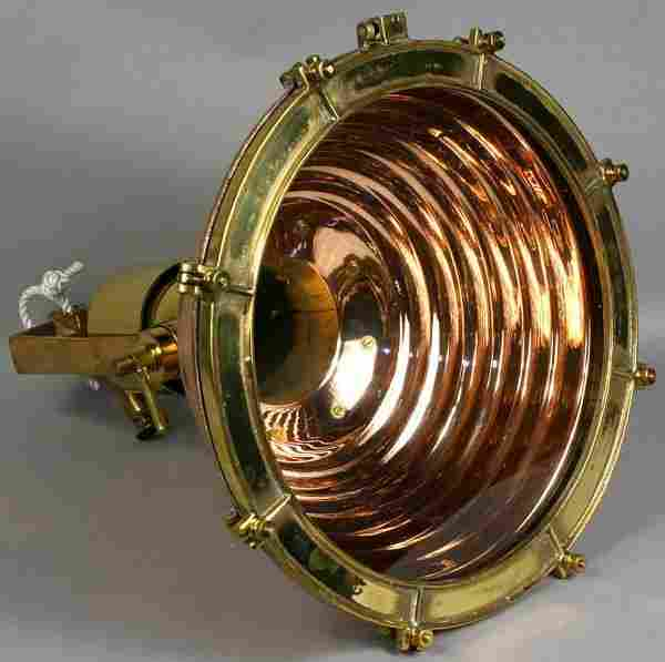 1107: Mid 20th C. Copper & Brass Ship's Cargo Lamp