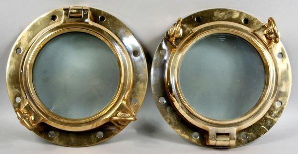 1110: Pair of 20th C. Round Brass Porthole Windows
