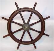 1117 Early 20th C 8spoke Mahogany Ships Wheel