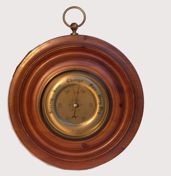 1133: C1930 Brass Face English Barometer by Smith's