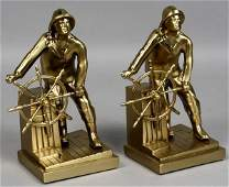 1152 2 Solid Brass Gloucester Fisherman Bookends