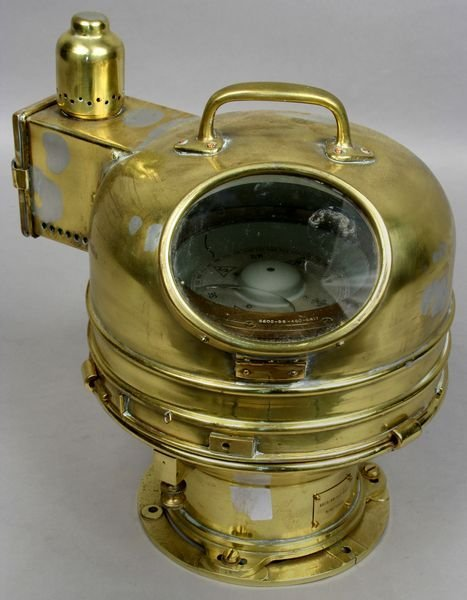 1162: Brass Binnacle w/ Gimbaled Compass, B.R.N.