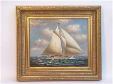 1216 20th C Gaffrigged Sloop Sailing oc J Crisp