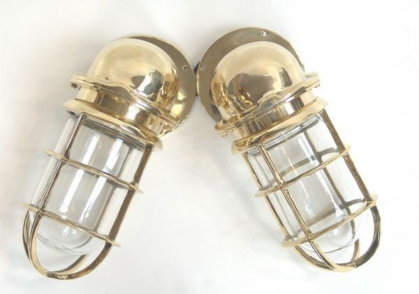 Pair of Solid Brass Ship's Companionway Lamps