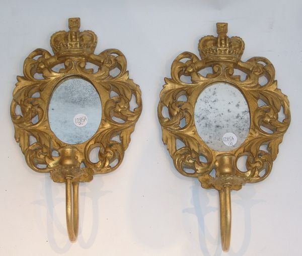 Pair of Mirrored Sconces with Royal Crowns