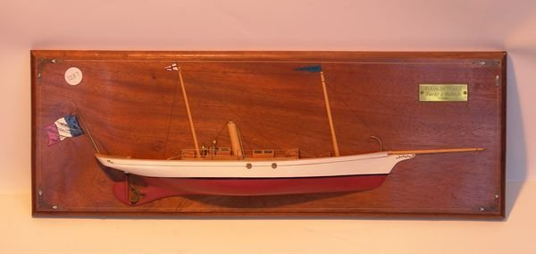 "1287: Carved Half Model of Yacht ""Fleur De France"""
