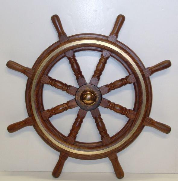 1294: 20th C. Solid Teak Ship's Wheel w/ Brass Hub