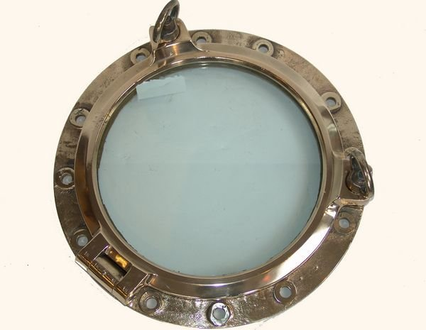 1304: Mid 20th C. Large Solid Brass Ship's Porthole