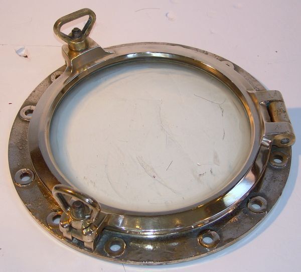 1309: Mid 20th C. Large Solid Brass Ship's Porthole
