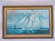 1350 Sailing Yacht Print on Canvas 20th Century