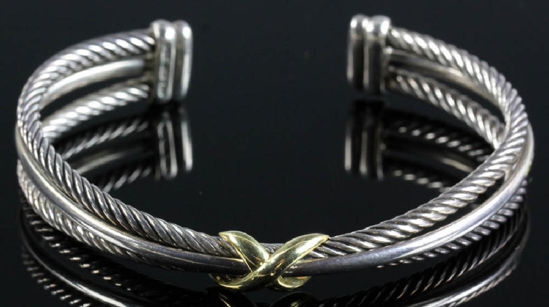 David Yurman Sterling and 18k Cuff Bracelet