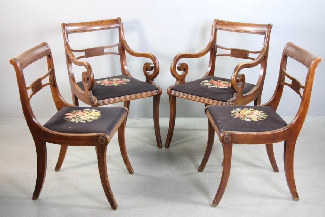 Four Mahogany Chairs, Needlepoint Seats