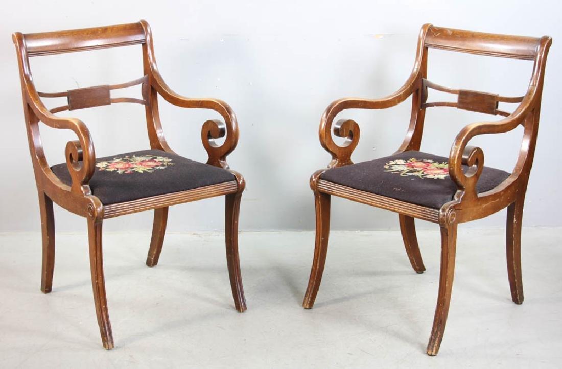 Four Mahogany Chairs, Needlepoint Seats - 2