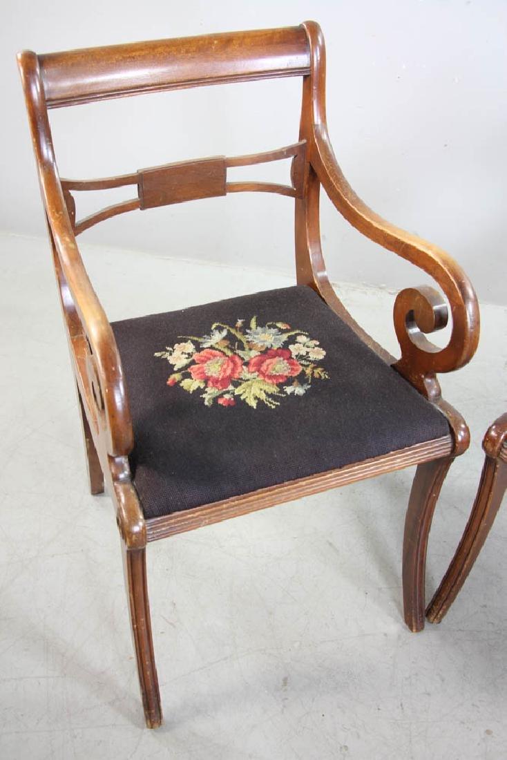 Four Mahogany Chairs, Needlepoint Seats - 4