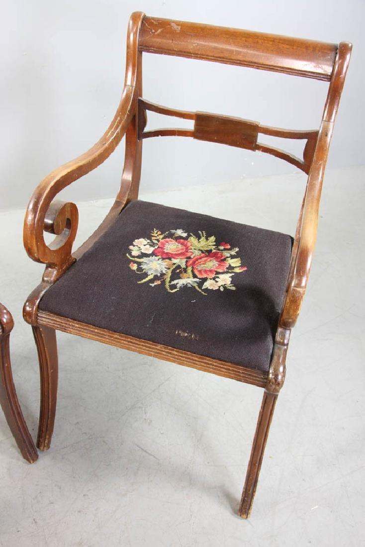 Four Mahogany Chairs, Needlepoint Seats - 5