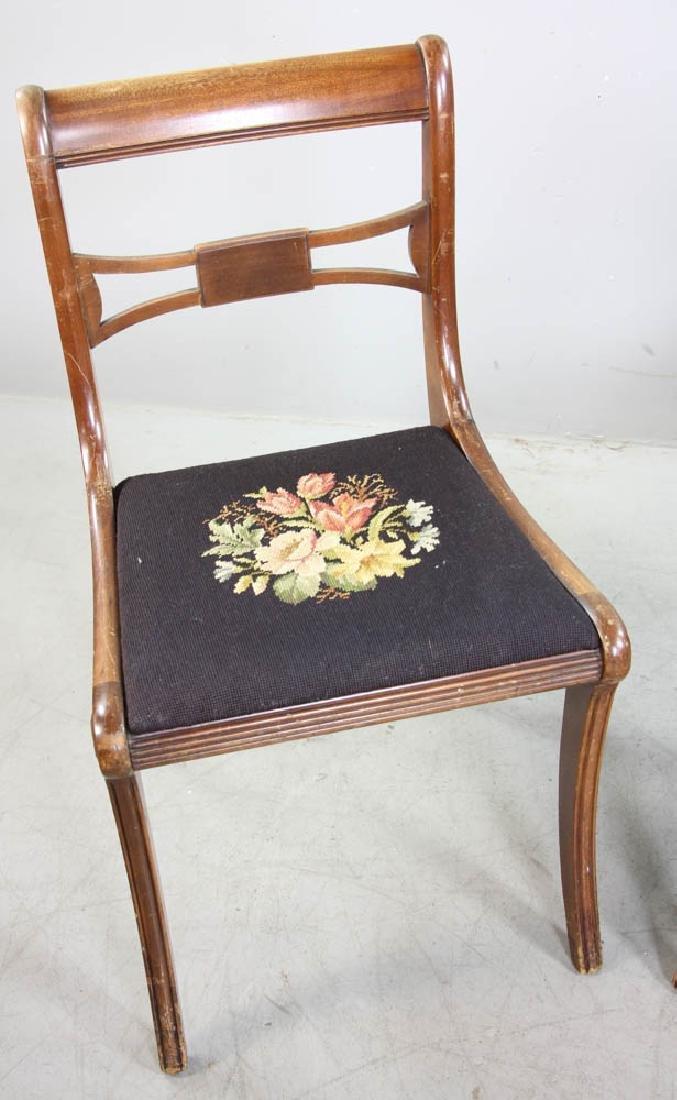 Four Mahogany Chairs, Needlepoint Seats - 6