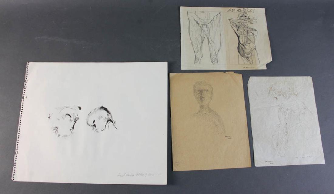 Four Leonard Baskin Personalized Drawings