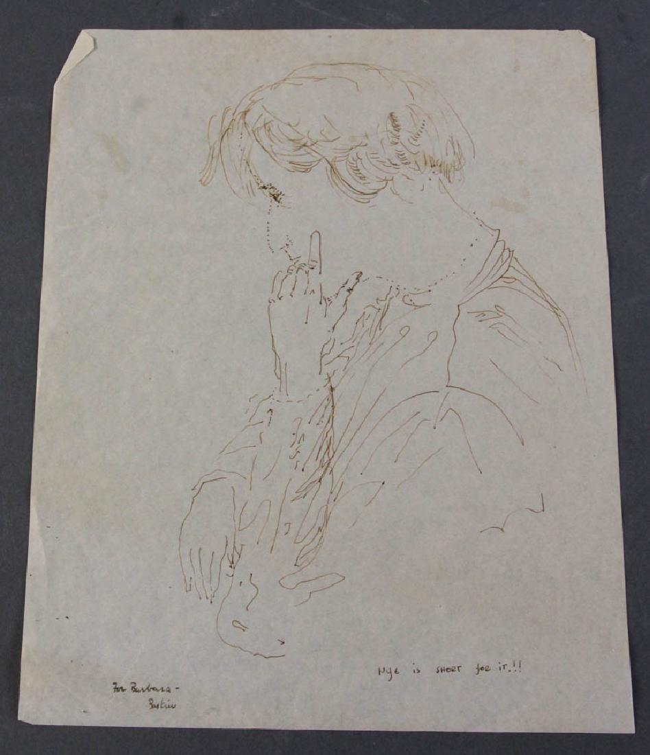 Four Leonard Baskin Personalized Drawings - 5