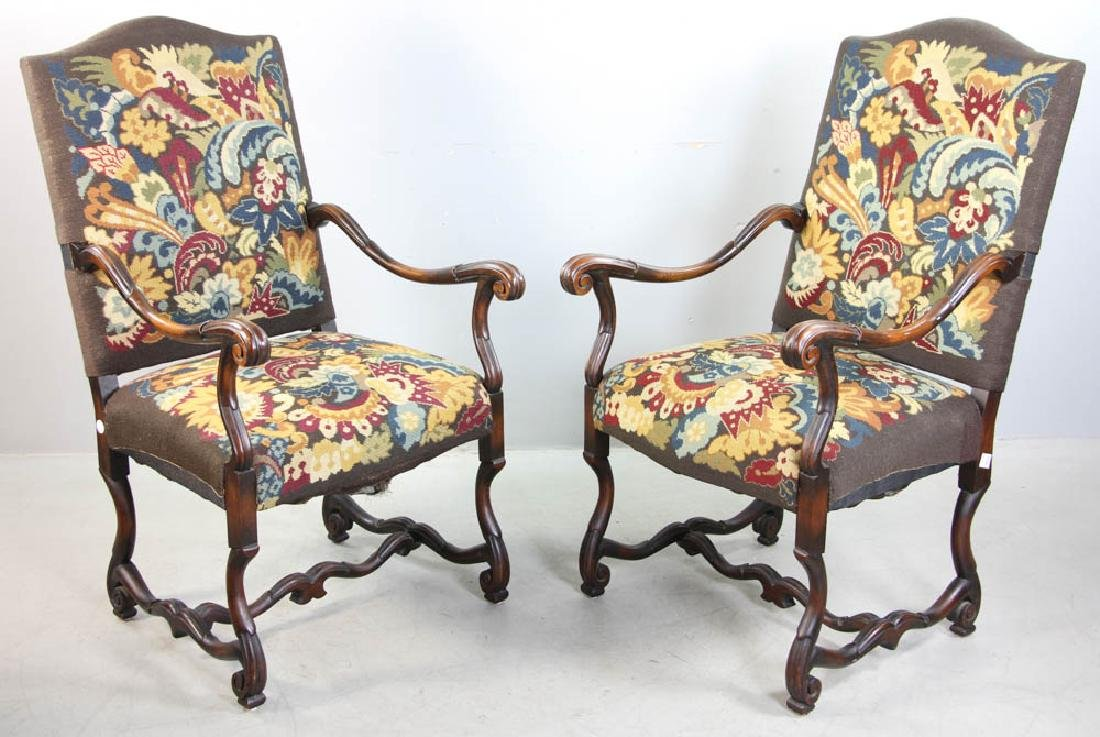 Pair of French Turkeywork Arm Chairs