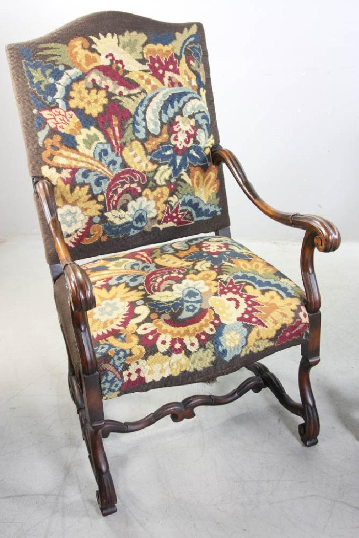 Pair of French Turkeywork Arm Chairs - 3