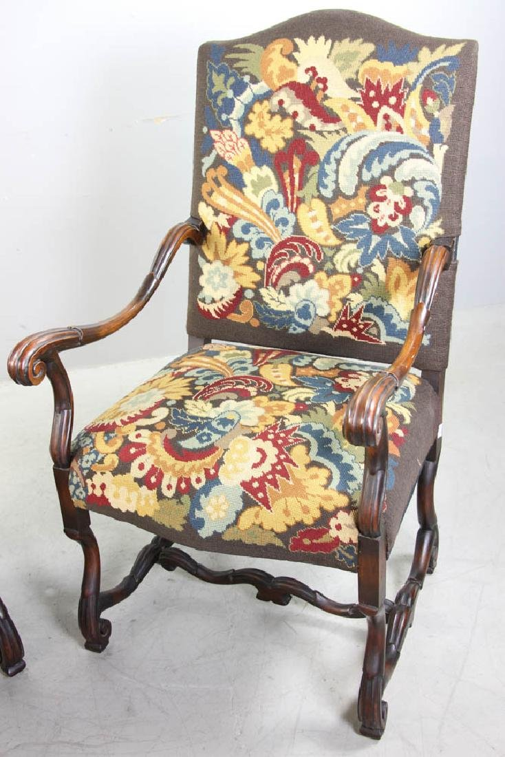 Pair of French Turkeywork Arm Chairs - 4