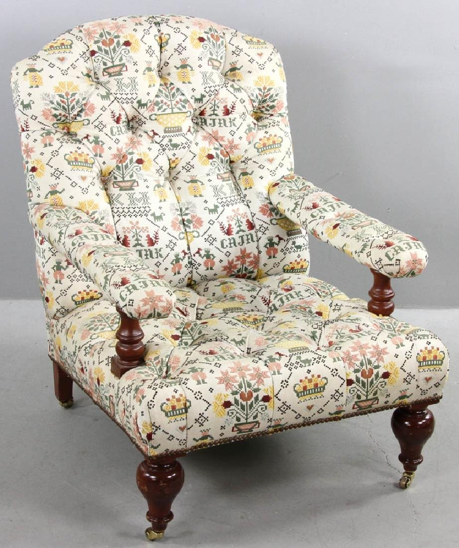 Upholstered Tufted Back Armchair