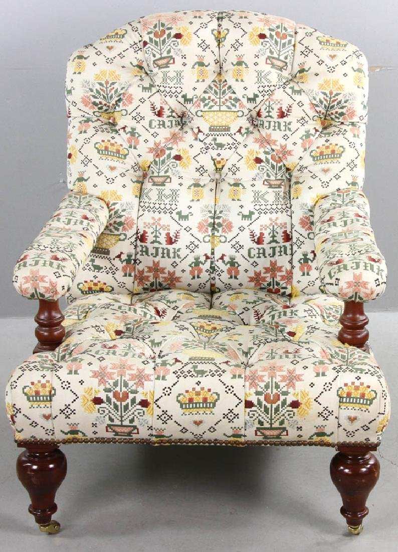Upholstered Tufted Back Armchair - 2